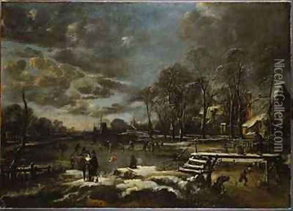 A Winter River Landscape with Figures Playing Golf and Skating Oil Painting - Aert van der Neer