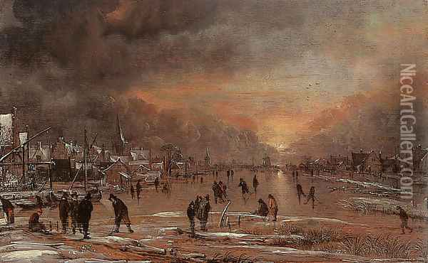 Sports on a Frozen River Oil Painting - Aert van der Neer