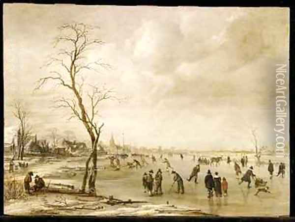 A Winter Landscape with Townsfolk Skating and Playing Kolf on a Frozen River a Town Beyond Oil Painting - Aert van der Neer