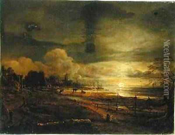 Canal at Moonrise Oil Painting - Aert van der Neer