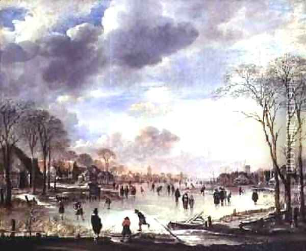 Winter Landscape with Figures on a Frozen Canal Oil Painting - Aert van der Neer
