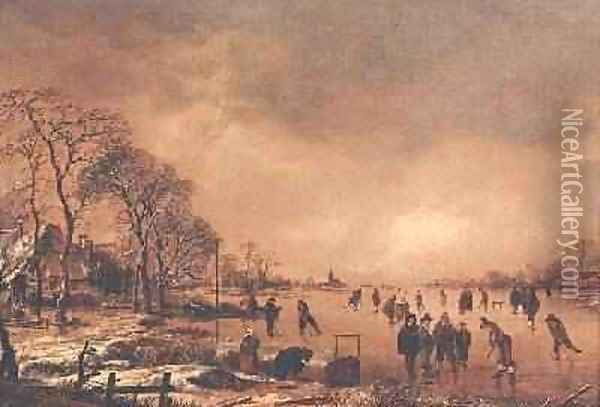 Wooded river landscape in Winter Oil Painting - Aert van der Neer