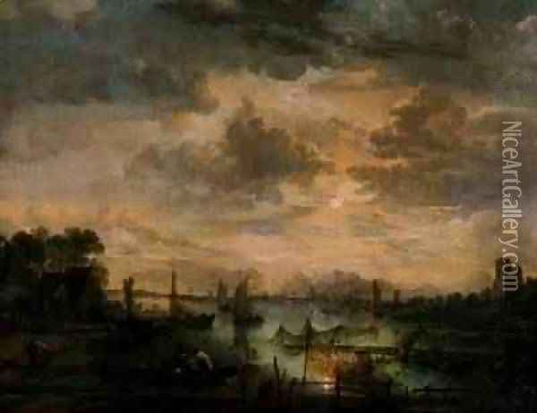 Moonlit scene with fishermen Oil Painting - Aert van der Neer