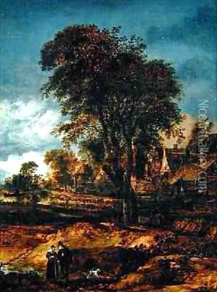 Moonlit wooded landscape with a couple conversing Oil Painting - Aert van der Neer