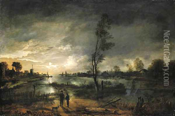 A moonlit river landscape with figures and a town beyond Oil Painting - Aert van der Neer