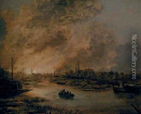 A river landscape at night with a rowing boat, a burning city beyond Oil Painting - Aert van der Neer