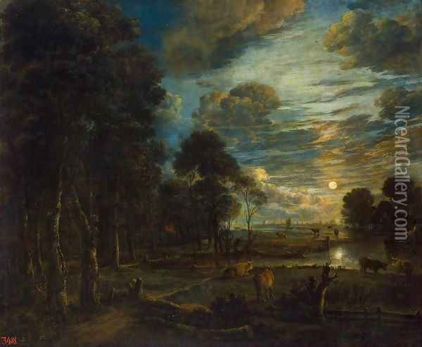 Night Landscape with a River Oil Painting - Aert van der Neer
