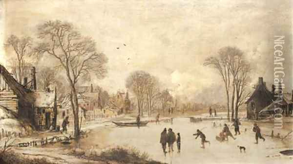 Skaters on a frozen canal by a village Oil Painting - Aert van der Neer