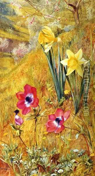 Anemones and Daffodils Oil Painting - Henry Roderick Newman