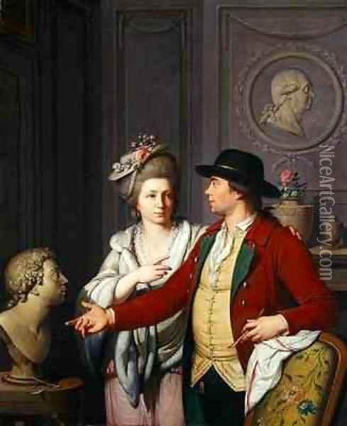 Samuel Nahl Shows his Bride a Bust of his Brother 1782 Oil Painting - Johann August the Younger Nahl