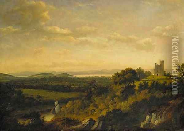 View of Renfrew Castle, with a ship on White Cart Water in the foreground and an extensive view of the River Clyde beyond Oil Painting - Patrick Nasmyth
