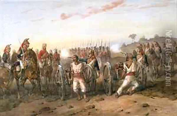 Mutineers about to be blown from guns by the Bengal Horse Artillery 1858 Oil Painting - Orlando Norie