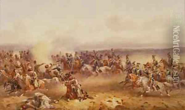 A Squadron of the 10th Hussars defeat the Russians at Tchernaya 16th August 1855 1890 Oil Painting - Orlando Norie