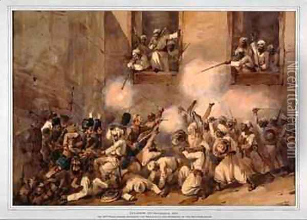 The 93rd Highlanders entering the breach at the storming of the Secundrabagh Lucknow 16th November 1857 Oil Painting - Orlando Norie