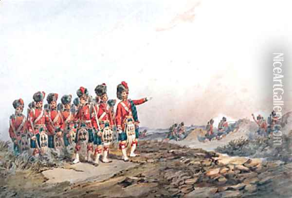 The 42nd Royal Highlanders Black Watch on manoeuvres Oil Painting - Orlando Norie