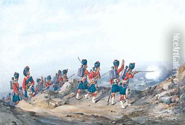 The 42nd Royal Highlanders Black Watch with Field officers attacking heights Oil Painting - Orlando Norie
