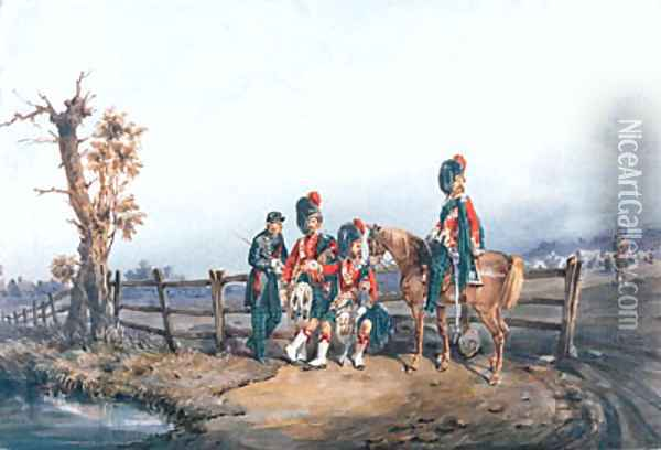 Major F.E.H. Farquharson V.C. and a group of officers from the 42nd Royal Highlanders Black Watch Oil Painting - Orlando Norie