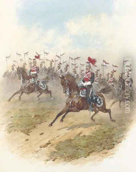 The 12th Regiment of the Prince of Wales's Royal Lancers Officers leading the charge from the fore Oil Painting - Orlando Norie