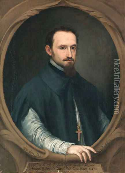 Portrait of the Archbishop of Seville, Don Ambroio de Spinola (d. 1684), half-length, in clerical costume, in a sculpted oval Oil Painting - Pedro Nunez De Villavicencio