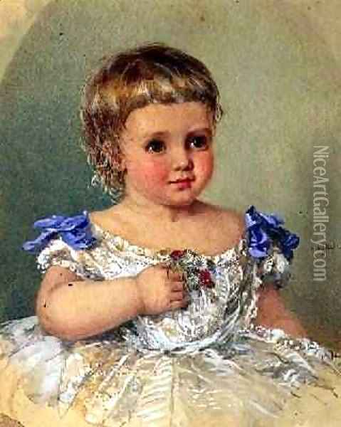 Portrait of a Child with a Posy of Wild Flowers 1871 Oil Painting - Isabel Oakley Naftel