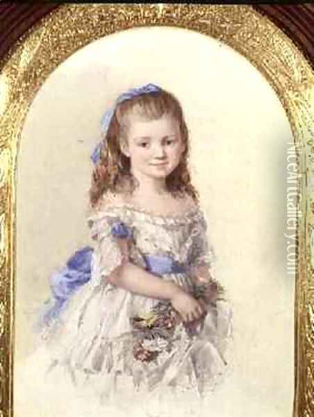 Portrait of Winifred Mary Bombass aged ten 1872 Oil Painting - Isabel Oakley Naftel