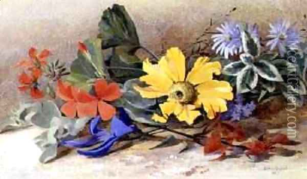 Still Life mixed Flowers 1867 Oil Painting - Isabel Oakley Naftel