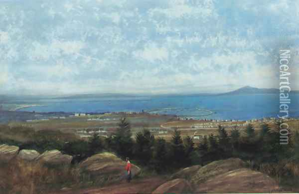 Dun Laoghaire harbour and Dublin Bay from Killiney Hill Oil Painting - Andrew Nicholl