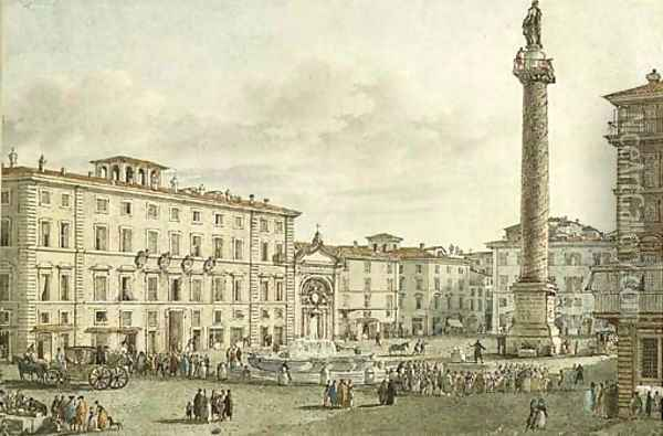 View of the Piazza Colonna with the Column Antoninus, Rome Oil Painting - Victor Jean Nicolle