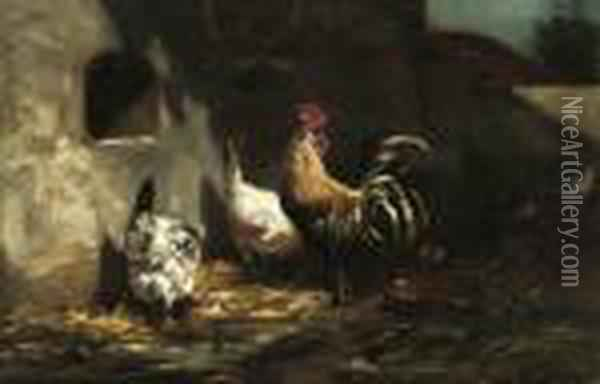 Poultry Feeding In The Farmyard Oil Painting - Charles Emile Jacque