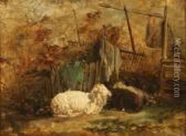 The Sleeping Sheep Oil Painting - Charles Emile Jacque