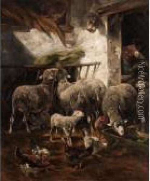 In The Barn Oil Painting - Charles Emile Jacque