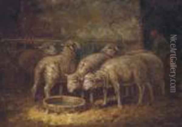 Sheep Watering In A Stable Oil Painting - Charles Emile Jacque