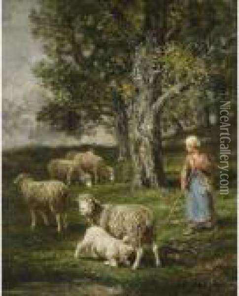 A Shepherdess With Her Flock Oil Painting - Charles Emile Jacque