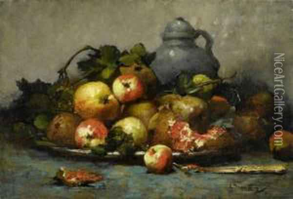Still Life With Fruits And A Jug. Oil Painting - Georges Jeannin