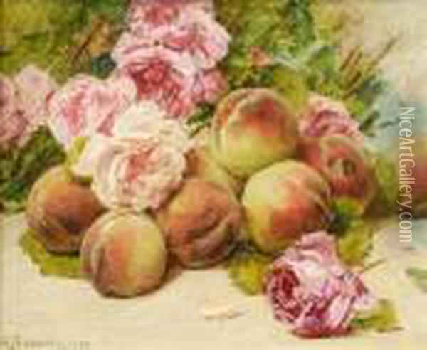 Still Life Ofpeaches And Roses Oil Painting - Georges Jeannin