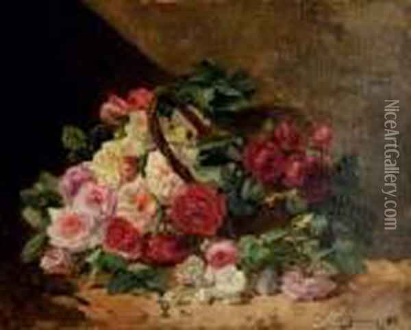 Roses In A Basket Oil Painting - Georges Jeannin