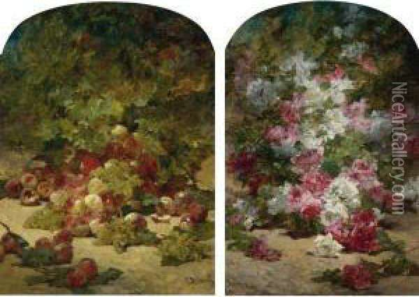 Peaches And Grapes Beneath A Tree And Summer Blooms Oil Painting - Georges Jeannin