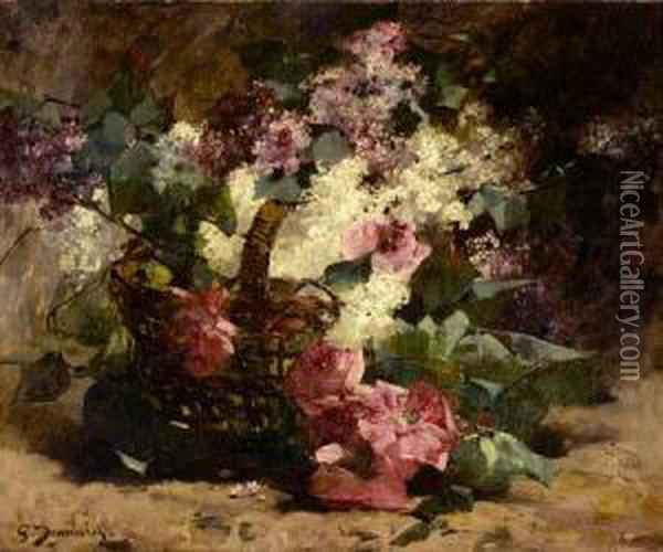 Bouquet Of Flowers In Basket Oil Painting - Georges Jeannin