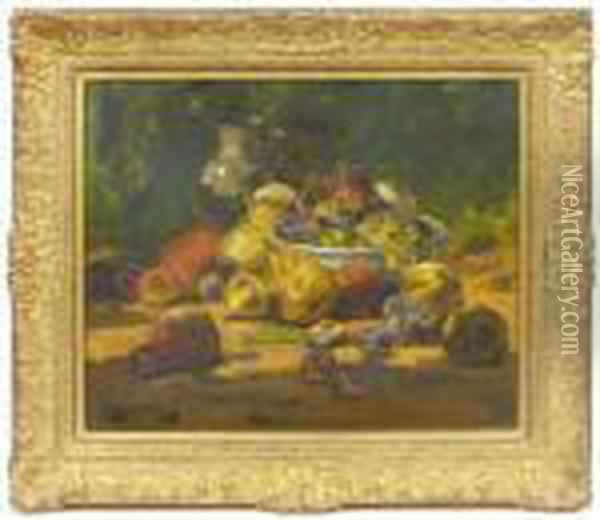 Still Ife With A Top Of Fruit. Oil Painting - Georges Jeannin