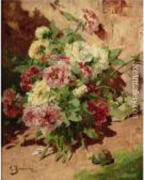 Pink And White Peonies Oil Painting - Georges Jeannin
