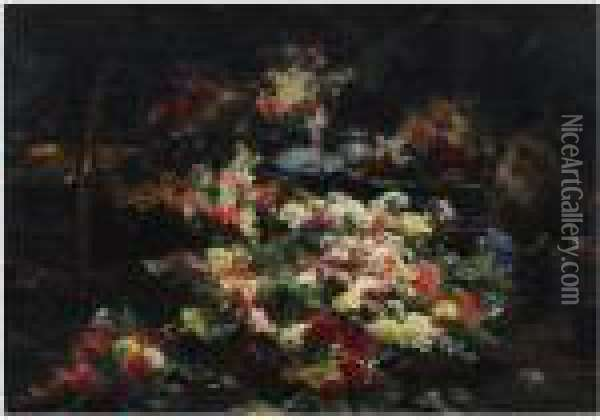 An Abundance Of Flowers In The Artist's Studio Oil Painting - Georges Jeannin