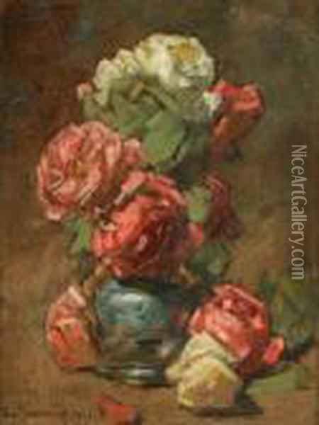Les Roses Oil Painting - Georges Jeannin