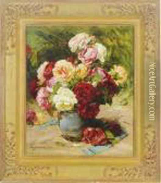 Still Life Of A Vase Of Roses Oil Painting - Georges Jeannin