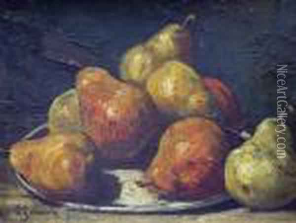 Nature Morte Au Plat De Poires. Oil Painting - Georges Jeannin