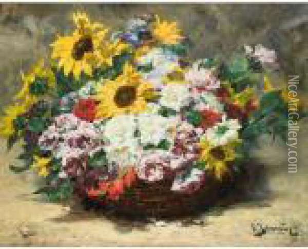 Panier De Roses Et Tournesols [ ;