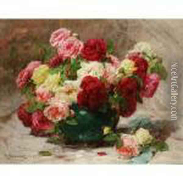 Still Life Of Roses In A Vase Oil Painting - Georges Jeannin