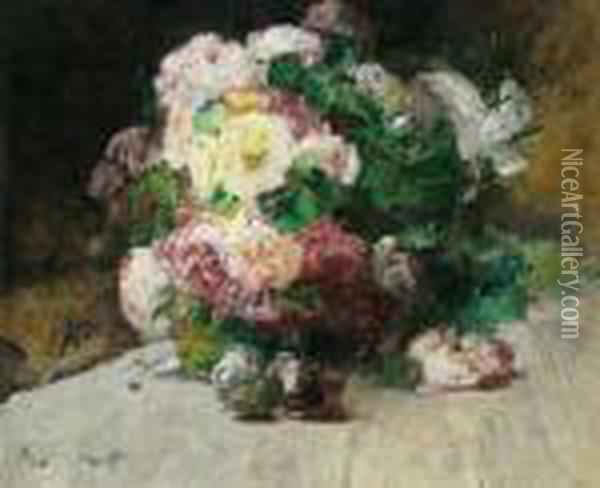 Peonie Oil Painting - Georges Jeannin