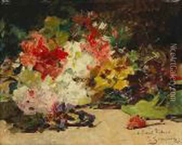 A Floral Still Life Oil Painting - Georges Jeannin