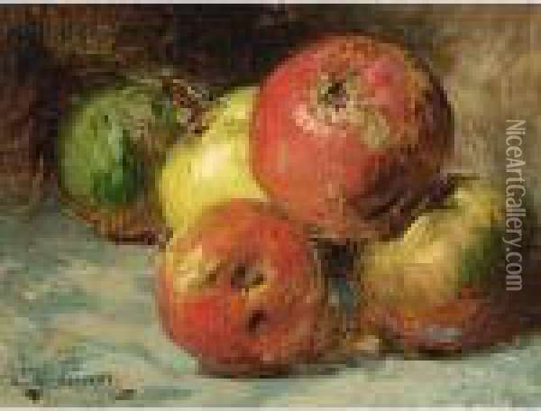 Still Life With Apples Oil Painting - Georges Jeannin