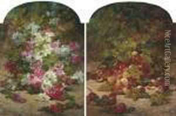 Peaches And Grapes Beneath A Peach Tree; And Summer Blooms Oil Painting - Georges Jeannin